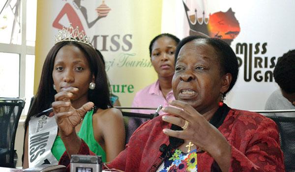 Tourism minister Maria Mutagamba addressing the press on Monday.