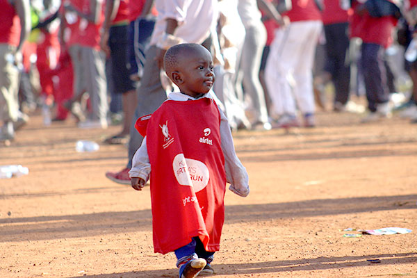 A child dressed smartly during the Kabaka's Birthday run 2015.