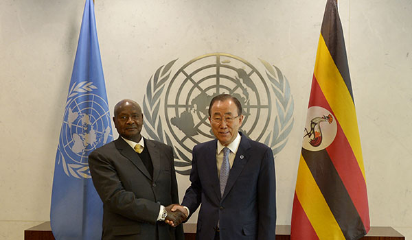 President Museveni with UN Secretary General Ban Ki-Moon at the United Nations General Headquarters in New York on Monday May 4, 2015. PPU Photo