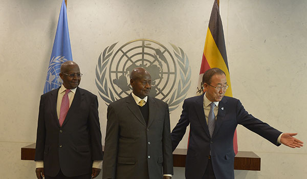 President Yoweri Museveni with UN Secretary General Ban Ki-Moon (right) and the President of the United Nations General Assembly Sam Kutesa on the side-lines of  the High Level Thematic Debate at United Nations General Headquarters in New York on Monday May 4, 2015. PPU Photo