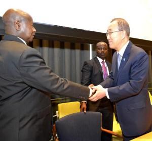 President Museveni with UN Secretary General Ban Kimu