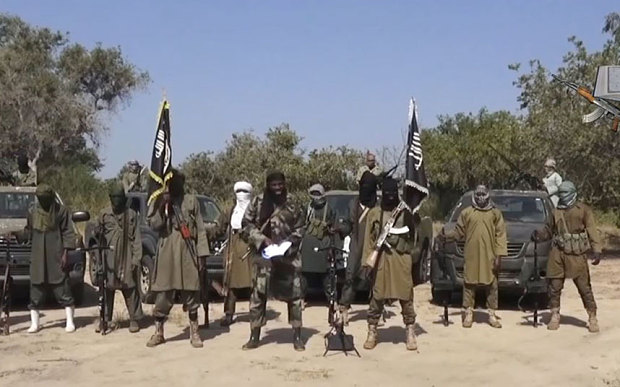 The leader of the Islamist extremist group Boko Haram delivering a speech