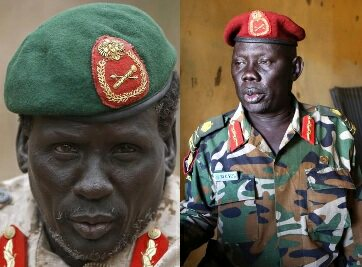 SPLA Maj. Gen. Marial Chanuong Yol (R) and rebel commander Peter Gadet were hit with US sanctions in May for their role in the South Sudan confli