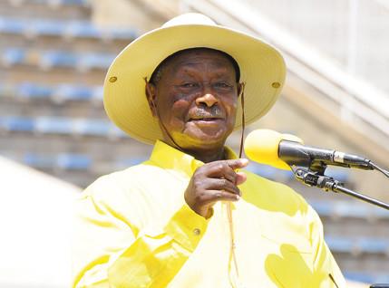 President Museveni addressing SC-Villa support at Hotel Africana.