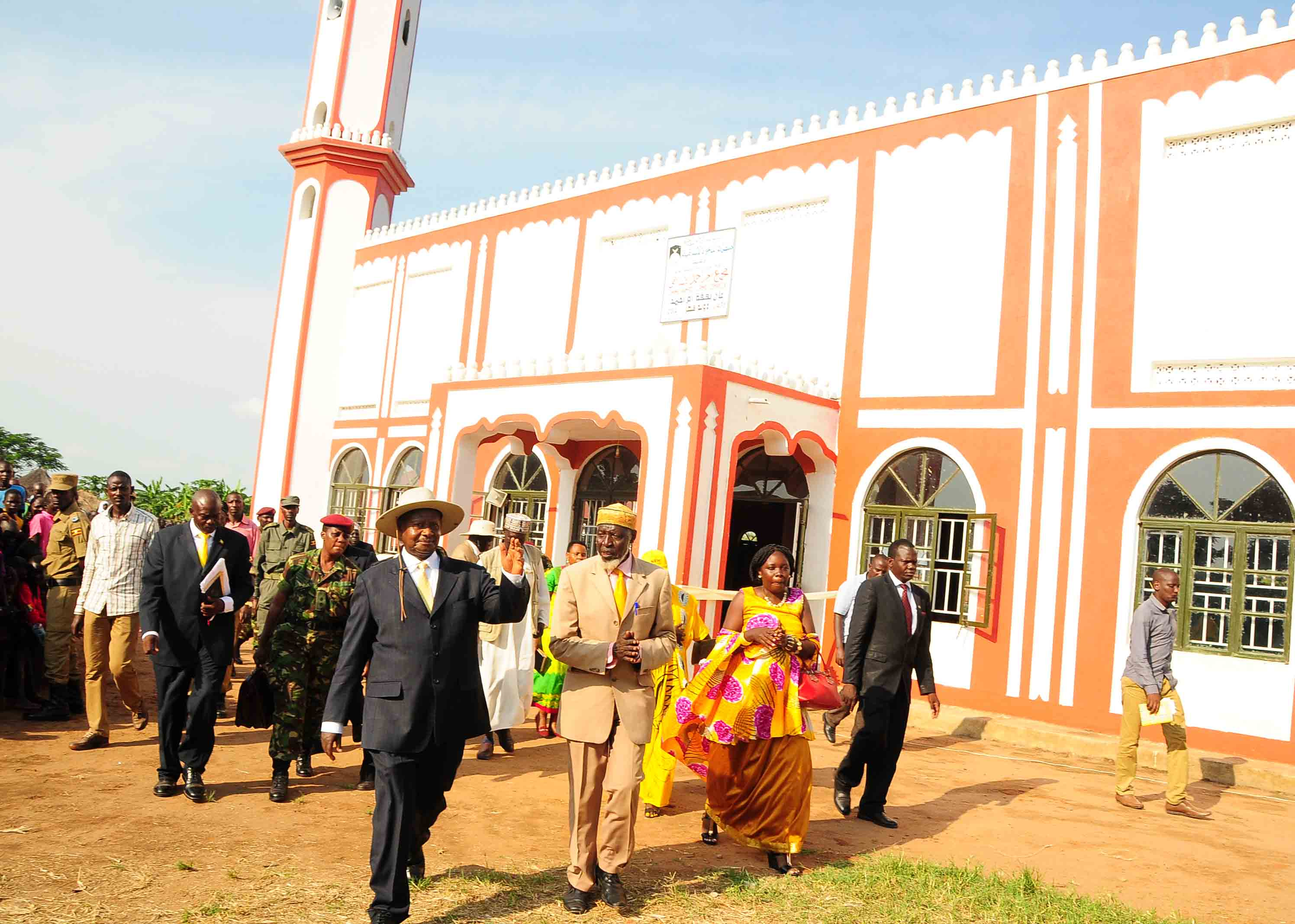 President Museveni and Fungarooho after opening the Mosque in Obongi County.