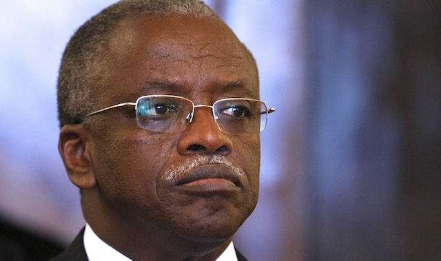 Uganda's Security Minister Amama Mbabazi meets with Russia's counterpart Sergey Lavrov, not pictured, in Moscow on Thursday, March 31, 2011. (AP Photo/ Alexander Zemlianichenko)