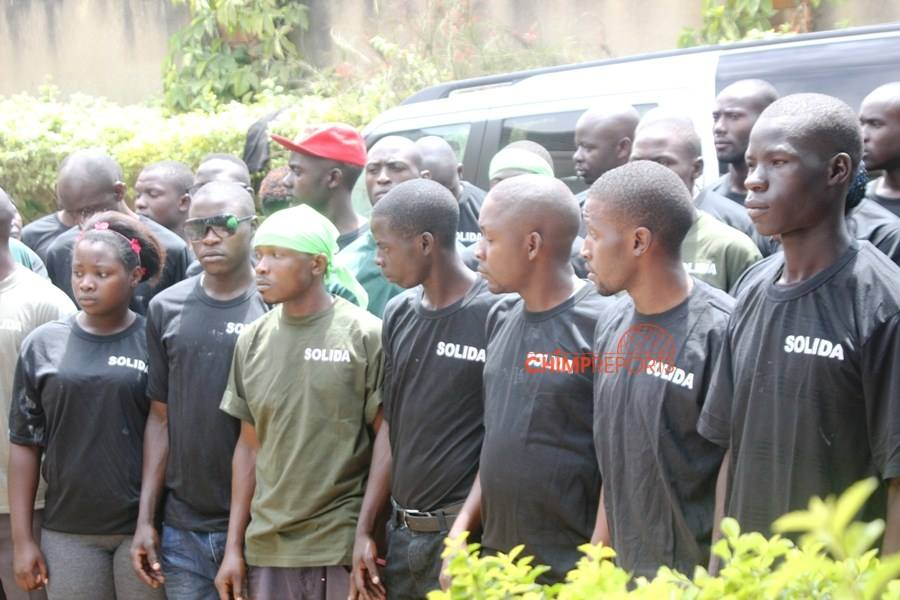 A group of youth recruits set to counter Mak. Mutale's 'militia'.