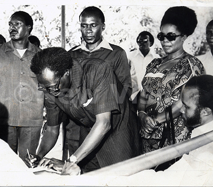 Prof. Adonia Tiberondwa seen this photo standing behind Obote.