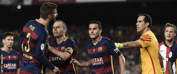 Barcelona, who had defender Gerard Pique sent off on Monday, have now conceded nine goals in their last three games.