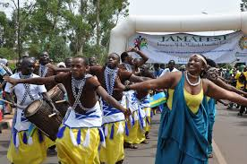 Rwandan delegation perform at Jamafest on the streets of Nairobi.