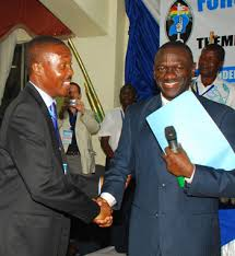 Dr. Besigye and Gen. Muntu earlier in the day.