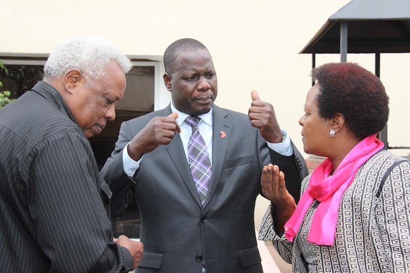 Hon Leonce Ndarubagiye (left), Rt. Hon Daniel F. Kidega (middle) and Hon Dora Byamukama in reflection at the start of the two day meeting on SDGs in Nairobi