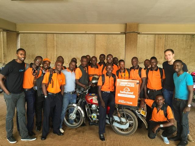 Joe falter CEO Hellofood Africa left, Mack Kyazze Head of operations and Ron Kawamara MD Hellofood Uganda with the hellofood Uganda Delivery team