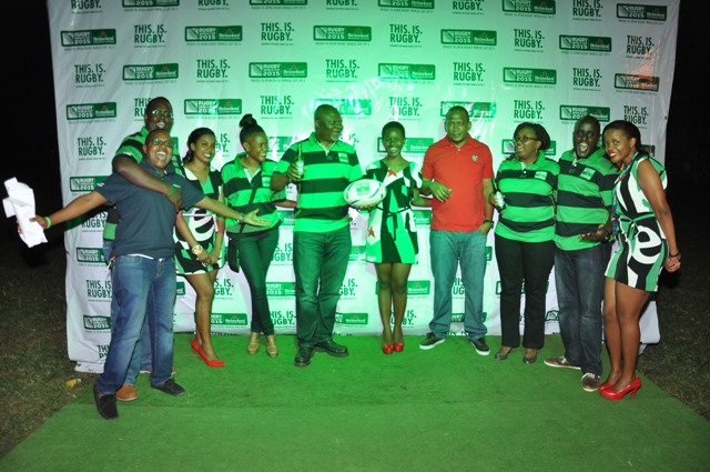 The Heineken team led by the PR Manager Steven Baryevuga take a group photo.