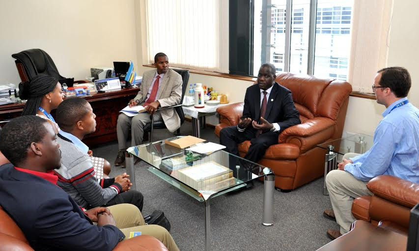 EALA Speaker,  Daniel F Kidega (2nd from right) in talks with the representatives of Pan African lawyers Union and the East African Civil Society organization Forum (EACSOF) who paid him a call earlier this week to present a petition on Burundi to the Assembly