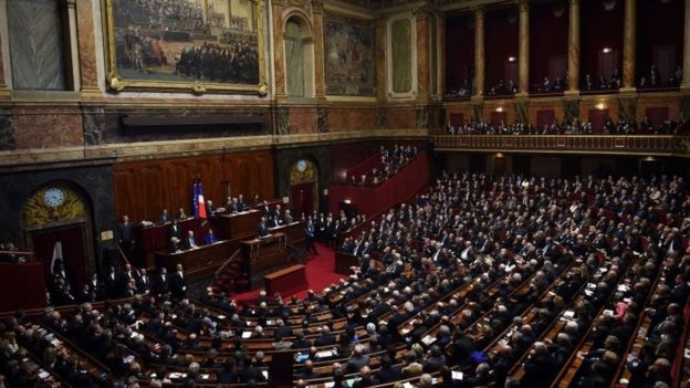 Mr Hollande addressed the first joint sitting of parliament for six years.