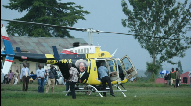 Lt Gen (rtd) Henry Tumukunde yesterday made a surprise landing in a chopper at the Boma grounds in Fort Portal, the venue for Mr Mbabazi's campaign rally in the area, prompting speculative talk that he intended to disrupt the rally.